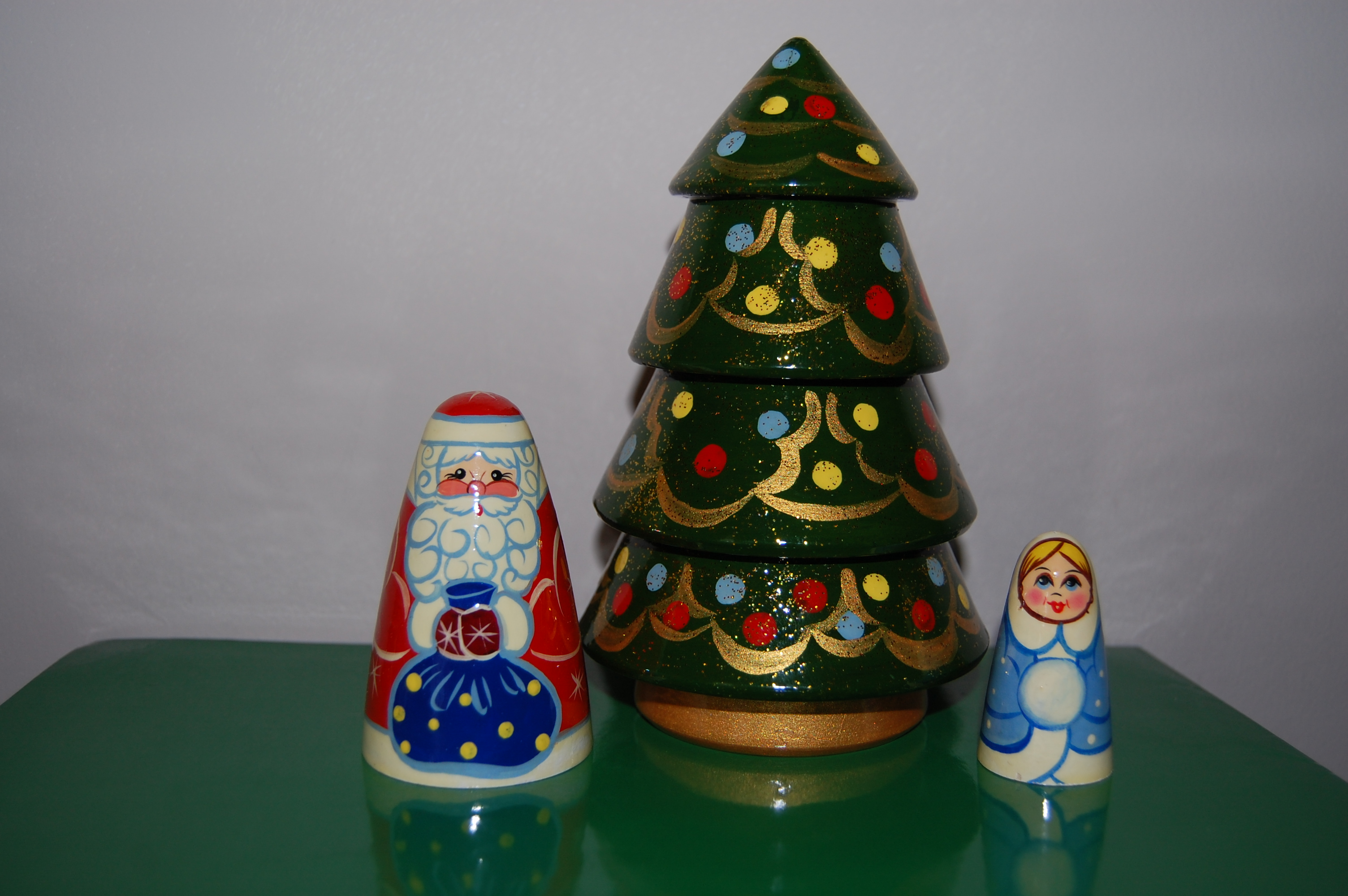 christmas tree nesting doll set 3pc6 in russian memories